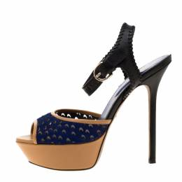 Sergio Rossi Tricolor Cut Out Leather And Calf Hair Peep Toe Platform Ankle Strap Sandals Size 37 186805