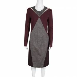 Stella Mccartney	 Colorblock Knit Mesh Insert Long Sleeve Dress M 131263