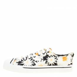 Burberry Black Floral Print Canvas Kingly Low Top Sneakers Size 44 167912