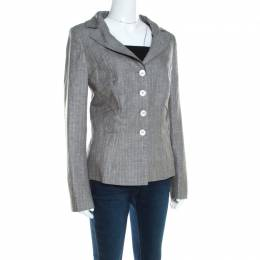 Escada Grey Linen and Wool Pleat Detail Tailored Blazer L 200150