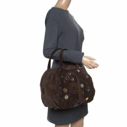 MARNI Dark Brown Suede Embellished Satchel 156858