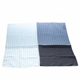 Lanvin Black and Grey Four Square Polka Dotted Silk Pocket Square 145855