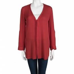Alice+Olivia Employed Red Button Front Long Sleeve Blouse XS