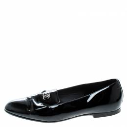 Chanel Black Patent Leather CC Smoking Slippers Size 38 163591
