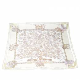 Hermes Cream Fantaisies Indiennes Printed Silk Pocket Square 169262
