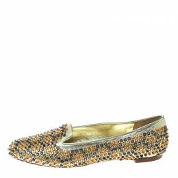 Alexander McQueen	 Metallic Gold Studded Leather Smoking Slippers Size 39 170133