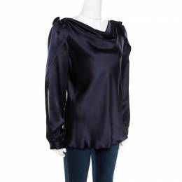 Oscar de la Renta Navy Blue Satin Cowl Neck Long Sleeve Blouse L 172474
