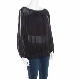 Marc by Marc Jacobs Black Sheer Silk Slit Batwing Sleeve Blouse M/L 184560