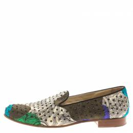 Etro Multicolor Printed Fabric Crystal Embellished Smoking Slippers Size 38.5 186196