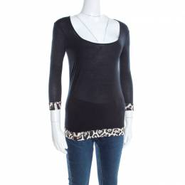 Just Cavalli Black Jersey Animal Printed Trim Scoop Neck T-Shirt S 197394