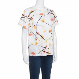 Emilio Pucci	 White Paint Brush Printed Cotton Short Sleeve T-Shirt M 152430