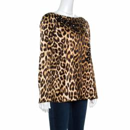 Blumarine Brown Leopard Printed Silk Cutout Detail Embellished Contrast Lined Blouse L 162201