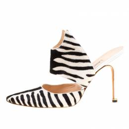 Manolo Blahnik Monochrome Zebra Print Calf Hair Pointed Toe Mules Size 40.5 170483