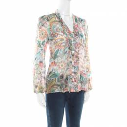 Etro Multicolor Floral Printed Silk Long Sleeve Blouse S 176341