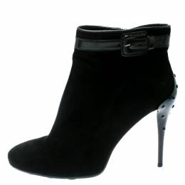 Tod's Black Suede Buckle Detail Ankle Booties Size 40 180708