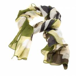 Burberry Multicolor Abstract Checked Cotton Scarf 184577