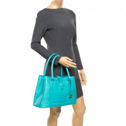 Loro Piana Turquoise Ostrich Belluve Tote 174404