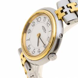 Hermes White Gold Plated and Stainless Steel Clipper Women's Wristwatch 25 mm 185569