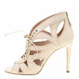 Miu Miu White Leather Cutout Open Toe Pumps Size 37 187018