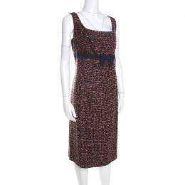 Escada Multicolor Tweed Denim Bow Detail Sleeveless Shift Dress XL 201503