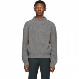 Thom Browne Grey Stripe Relaxed Fit Boat Neck Sweater 192381M20101501GB