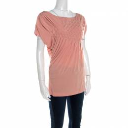 Escada Bellini Pink Diamond Pattern Pleated Jersey Cap Sleeve Estrelle Top M 201137