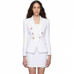 Balmain White Tweed Six Button Blazer SF17150C137