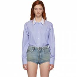Alexander Wang Blue and White Button Down Bodysuit 1WC2197055