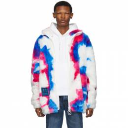 Off-White White and Blue Faux-Fur Zip Anorak Coat 192607M18000402GB