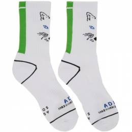 Maison Kitsune White ADER error Edition Fox Socks 192389F07600501GB