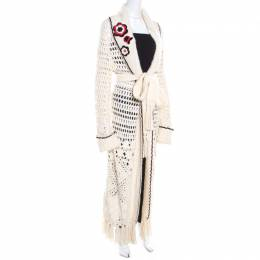 Escada Cream Crochet Knit Floral Applique Scalloped Tassel Edge Long Cardigan L 201500