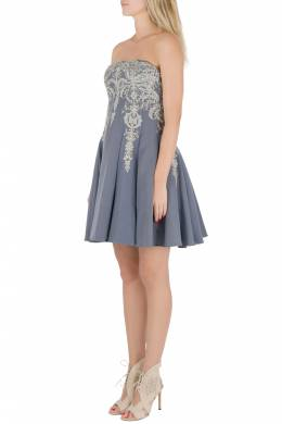 Marchesa Notte Grey Cotton Silk Tulle Embroidered Applique Strapless Dress S 201814