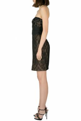 Marchesa Notte Black Chantilly Lace Embellished Bodice Strapless Pencil Dress S 201790
