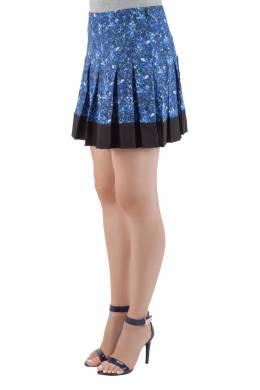Proenza Schouler Blue and Black Micro Printed Silk Georgette Pleated Skirt S 201649