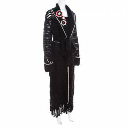 Escada Black Crochet Knit Floral Applique Scalloped Tassel Edge Long Cardigan L 201465