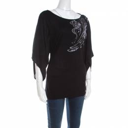 Escada Black Stretch Knit Embellished Waterfall Sleeve Top M 201456