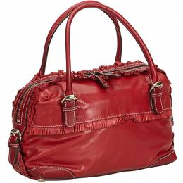 Gucci Red Leather Small Sabrina Top Handle Bag 290450