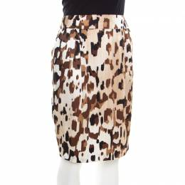 Escada Brown Abstract Camouflage Printed Silk Satin Skirt M 200175
