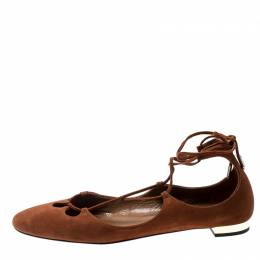 Aquazzura Brown Suede Dancer Lace Up Ballet Flats Size 38.5 200343