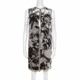 Proenza Schouler Monochrome Abstract Print Sheer Silk Embellished Waterfall Jacket and Dress Set M 200129