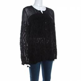 Escada Black Velvet Dobby Sheer Crepe Button Front Blouse M 200489