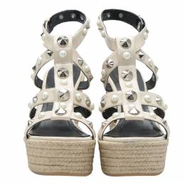 Nicholas Kirkwood Beige Patent Leather Stud And Pearl Embellished Strappy Espadrille Wedges Sandals Size 37