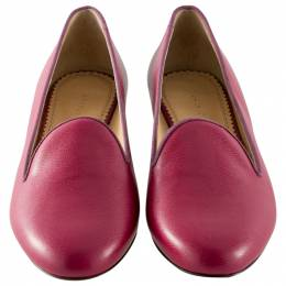Charlotte Olympia Magenta Leather Smoking Slippers Size 38.5