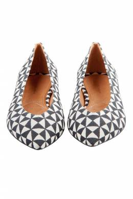 Isabel Marant Monochrome Printed Canvas Pointed Toe Ballet Flats Size 38 203985