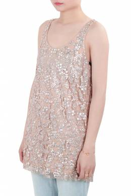 Vera Wang Collection Blush Pink Sequin Embellished Tulle Overlay Sleeveless Top S 204030