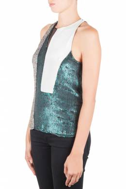 3.1 Phillip Lim Multicolor Sequin Paneled Sheer Insert Sleeveless Cocktail Top S 204007
