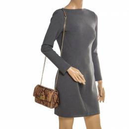 MICHAEL Michael Kors	 Brown Python Embossed Patent Leather Turnlock Crossbody Bag 205955