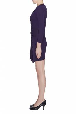 3.1 Phillip Lim Purple Jersey Ruched Front Draped Long Sleeve Dress XS 203994