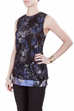 Vera Wang Collection Multicolor Lurex Jacquard Floral Lace Overlay Sleeveless Top M 203643