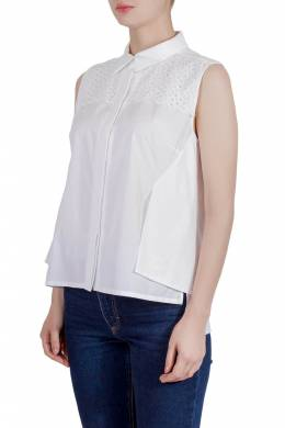 Peter Pilotto White Cotton Broderie Anglaise Trim Layered Sleeveless Shirt M 204888